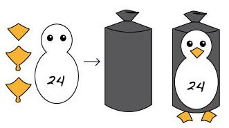 Adventskalender Basteln Pinguin